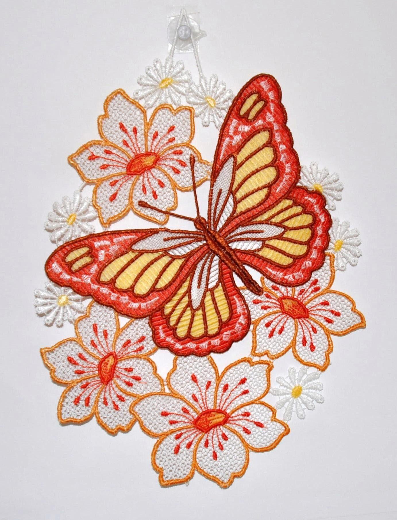 Fensterbild, Stickereien Plauen, »Schmetterling auf Blume«, Hakenaufhängung