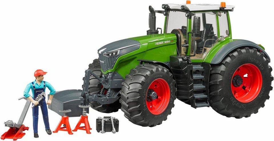 Bruder® spielzeugtraktor mit mechaniker & werkstattausstattung 4041