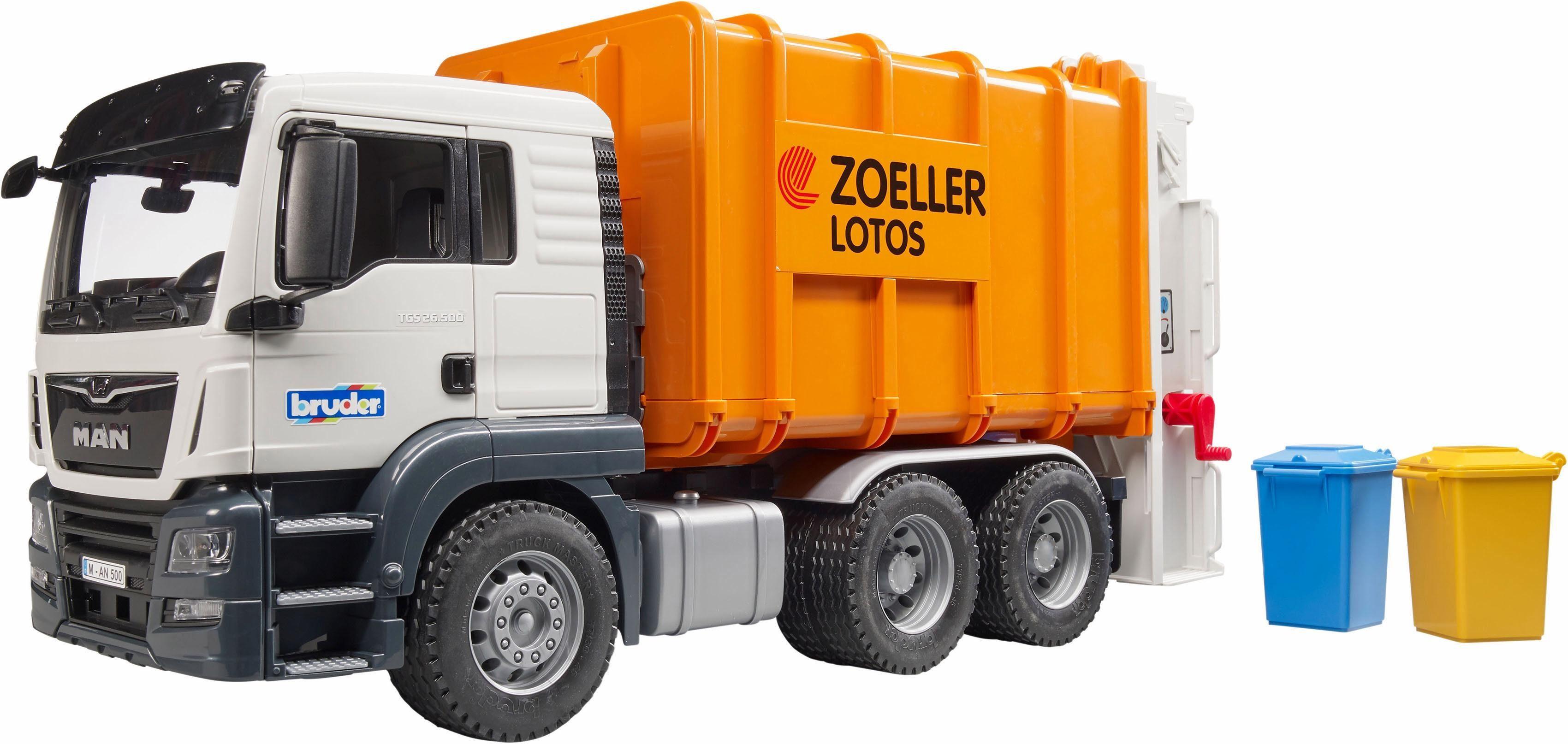 bruder® Spielzeug LKW Müllabfuhr, »MAN TGS Hecklader Müll-LKW, 1:16, orange«