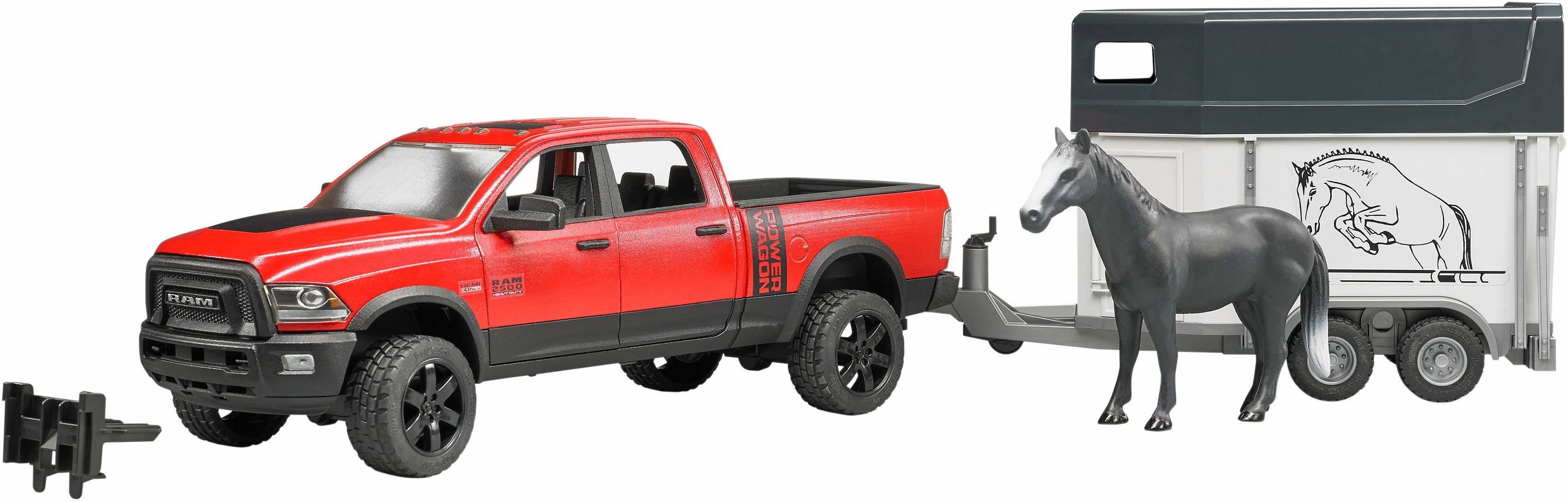 bruder® Spielfahrzeug mit Anhänger 2501, »RAM 2500 Power Wagon mit Pferdeanhänger und Pferd, 1:16, rot«