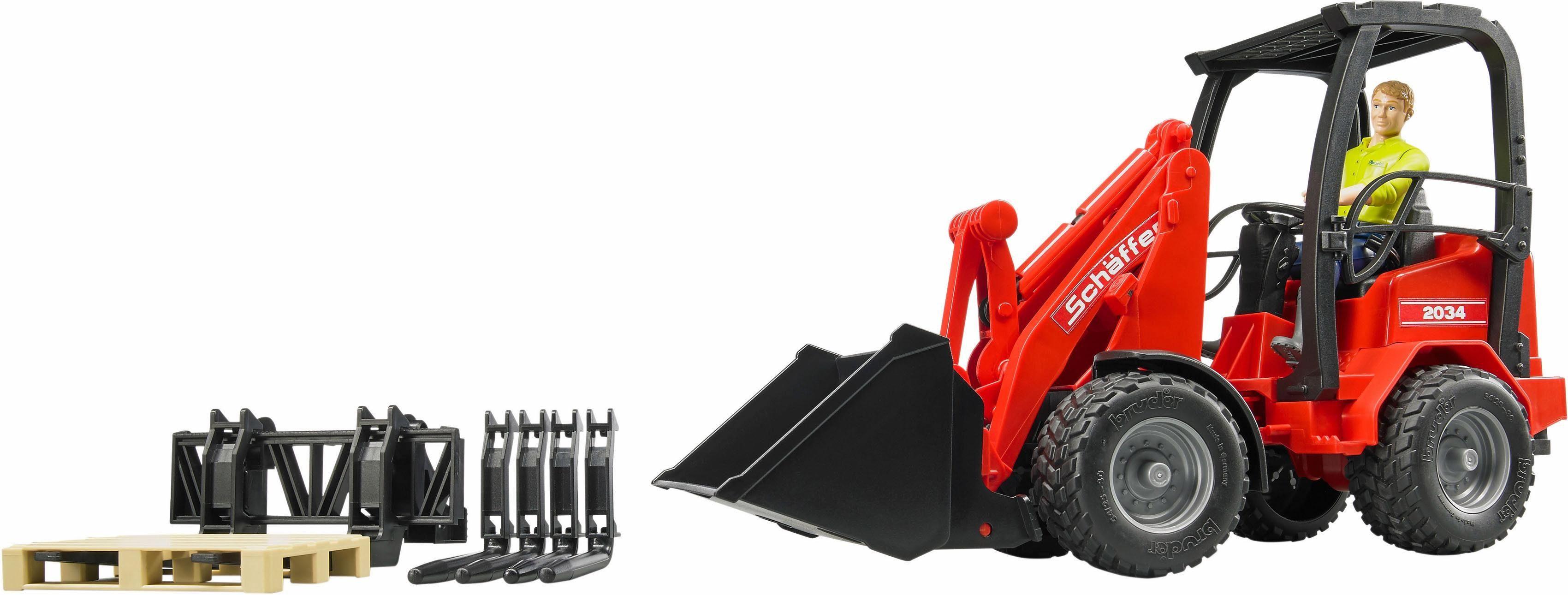 bruder® Spielzeug Radlader 2191, »Schäffer Hoflader 2034 mit Figur und Zubehör, 1:16, rot«
