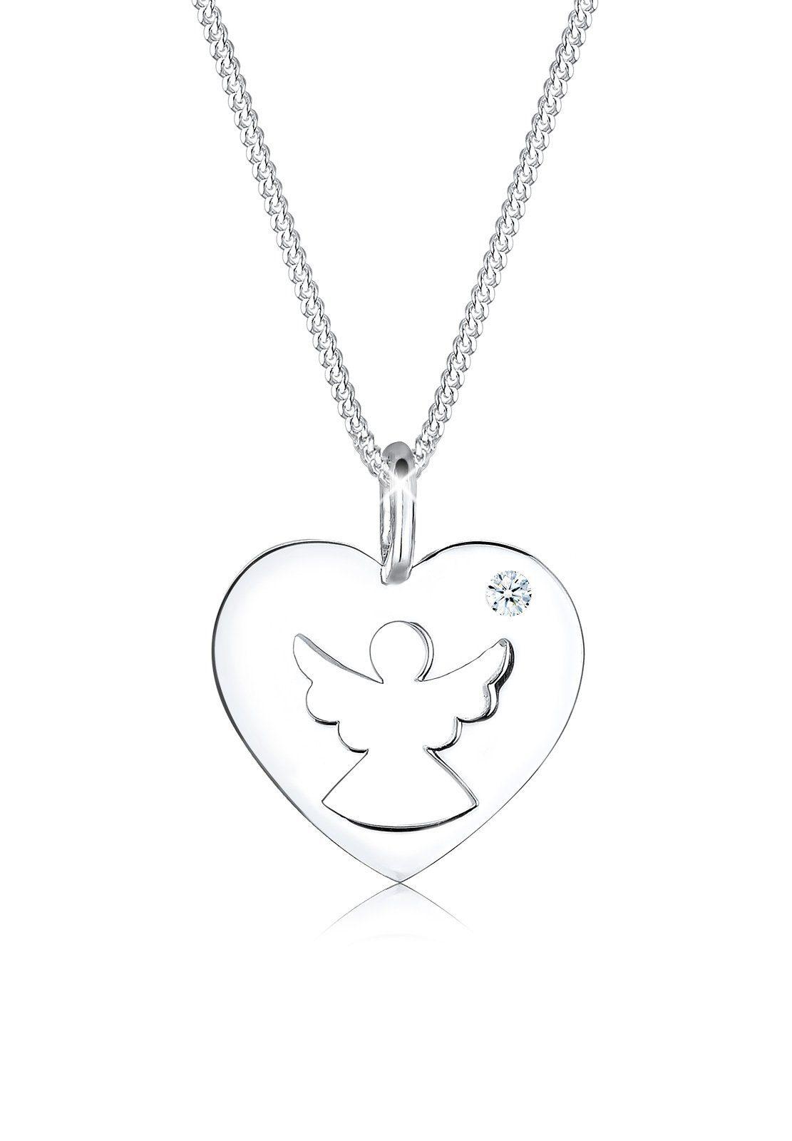 Diamore Halskette »925 Sterling Silber Diamant Herz Schutzengel«