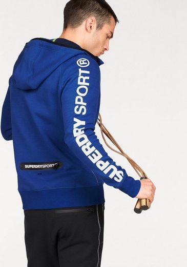 Superdry Kapuzensweatjacke GYM TECH ZIPHOOD, Reißverschlusstasche am unteren Rücken
