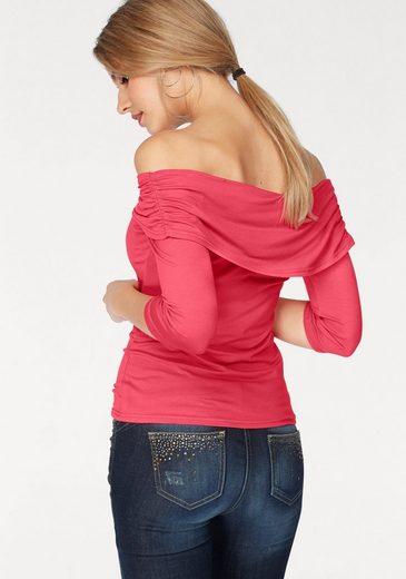 Melrose Carmenshirt, mit Zierschnalle