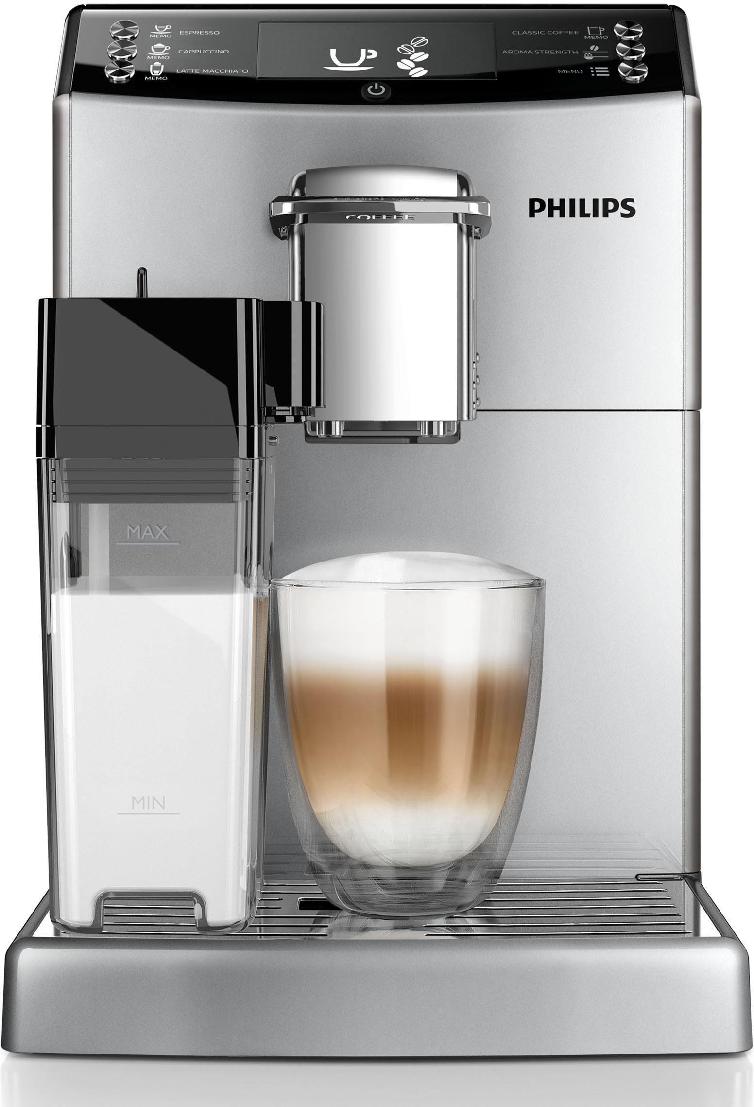 Philips Kaffeevollautomat 4000 Serie EP4050/10, 1,8l Tank, Scheibenmahlwerk, mit Milchkaraffe