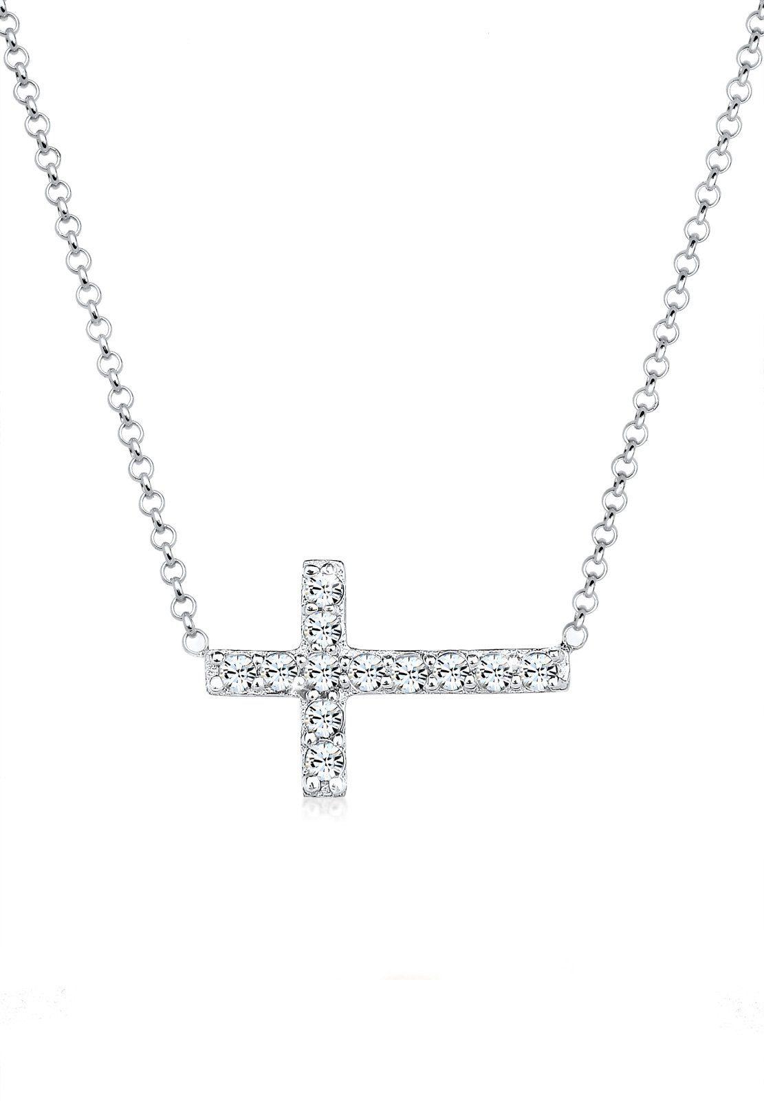 Elli Halskette »Kreuz Symbol Swarovski®Kristalle 925 Silber«