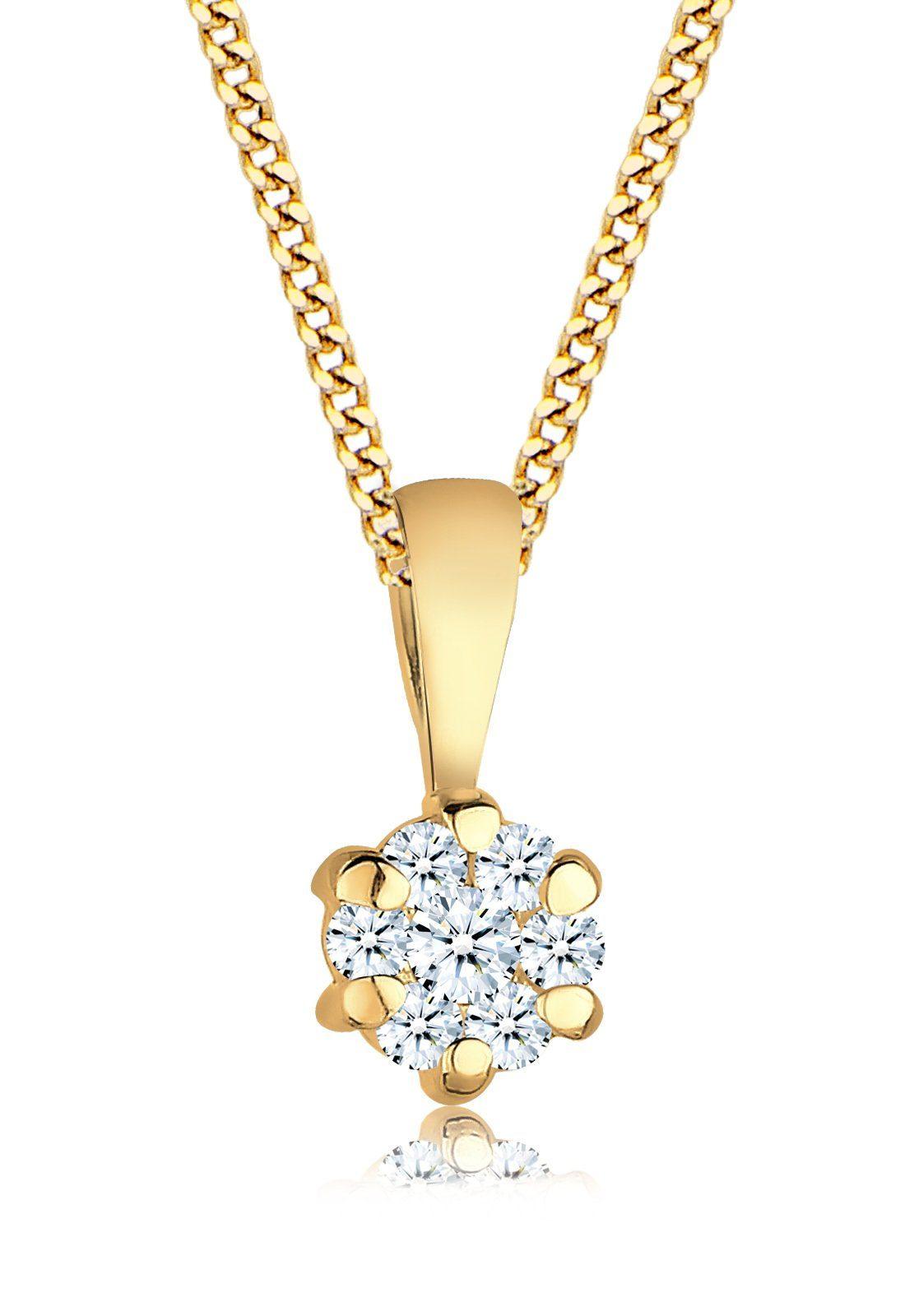 Diamore Halskette »Diamant Floral 585 Gelbgold«