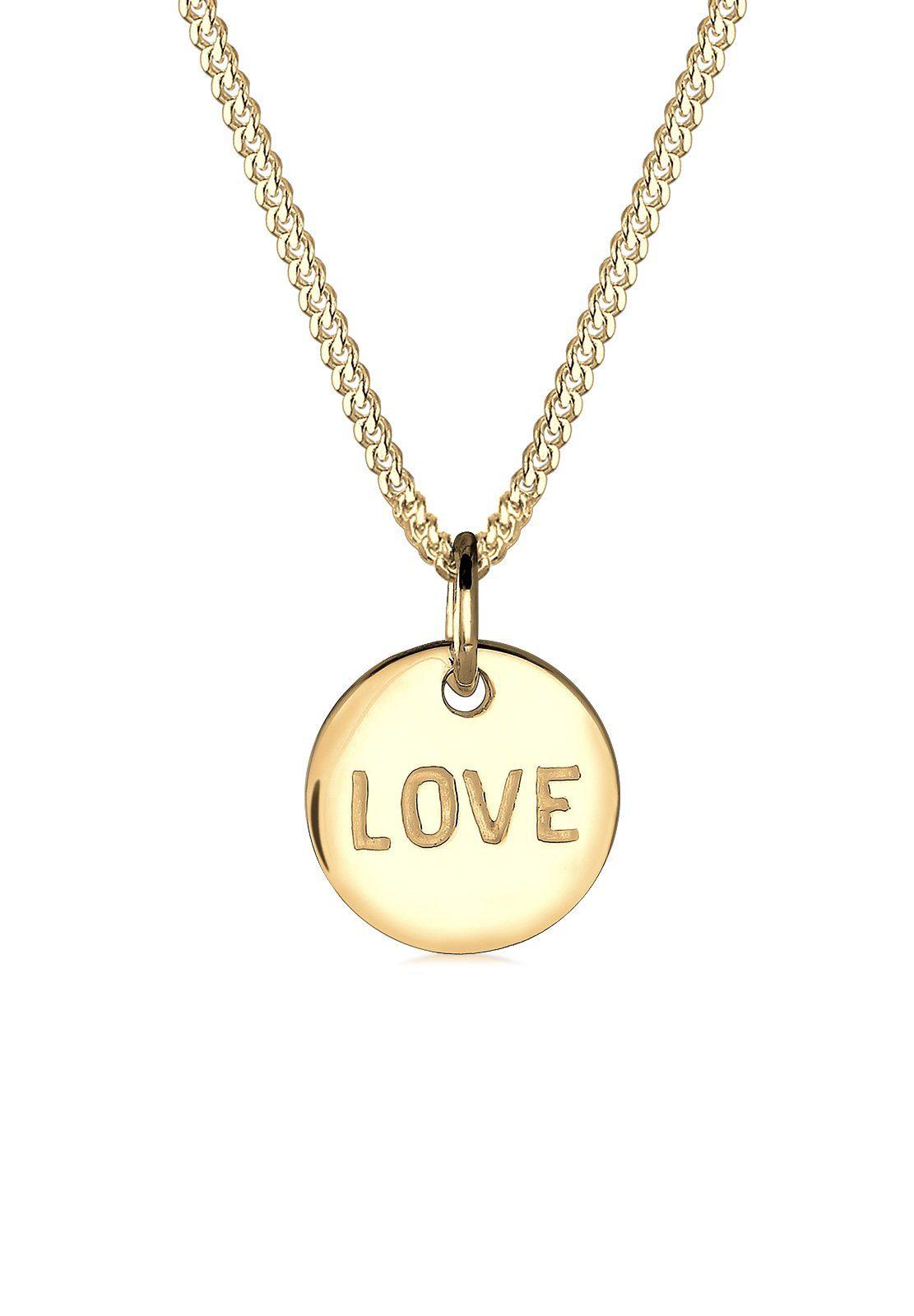 Elli Halskette »Love-Schriftzug Liebe 585 Gelbgold«