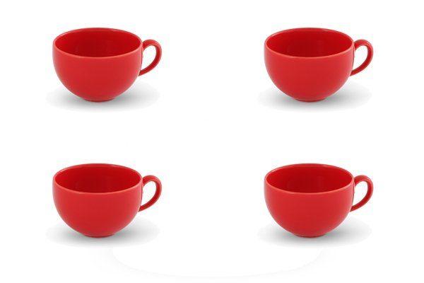 Friesland 4er Set Kaffee- Obertasse 240ml »Happymix Rot«