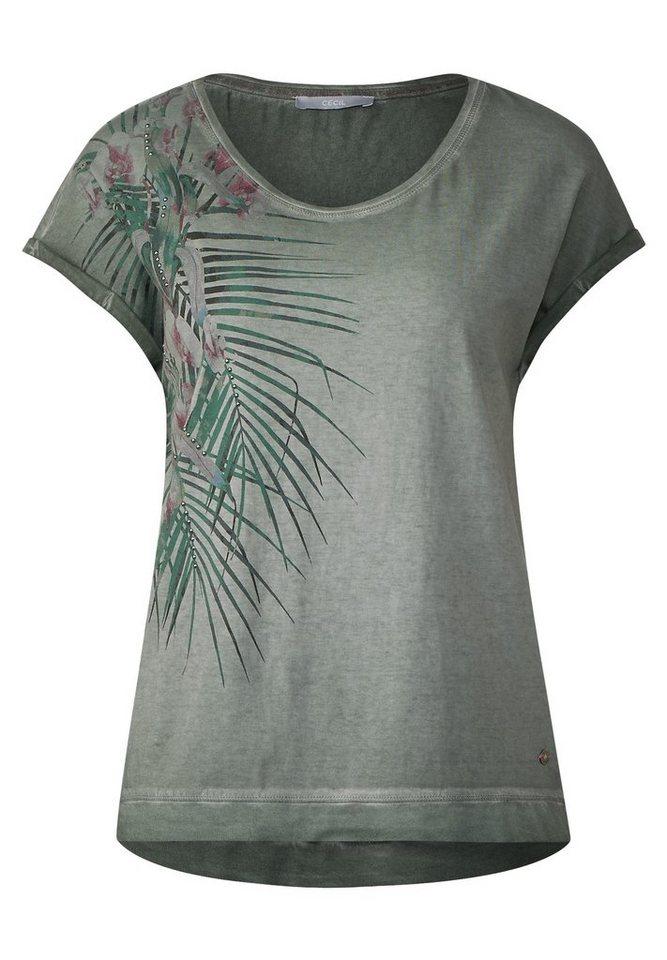 CECIL Tropical Shirt mit Perlen
