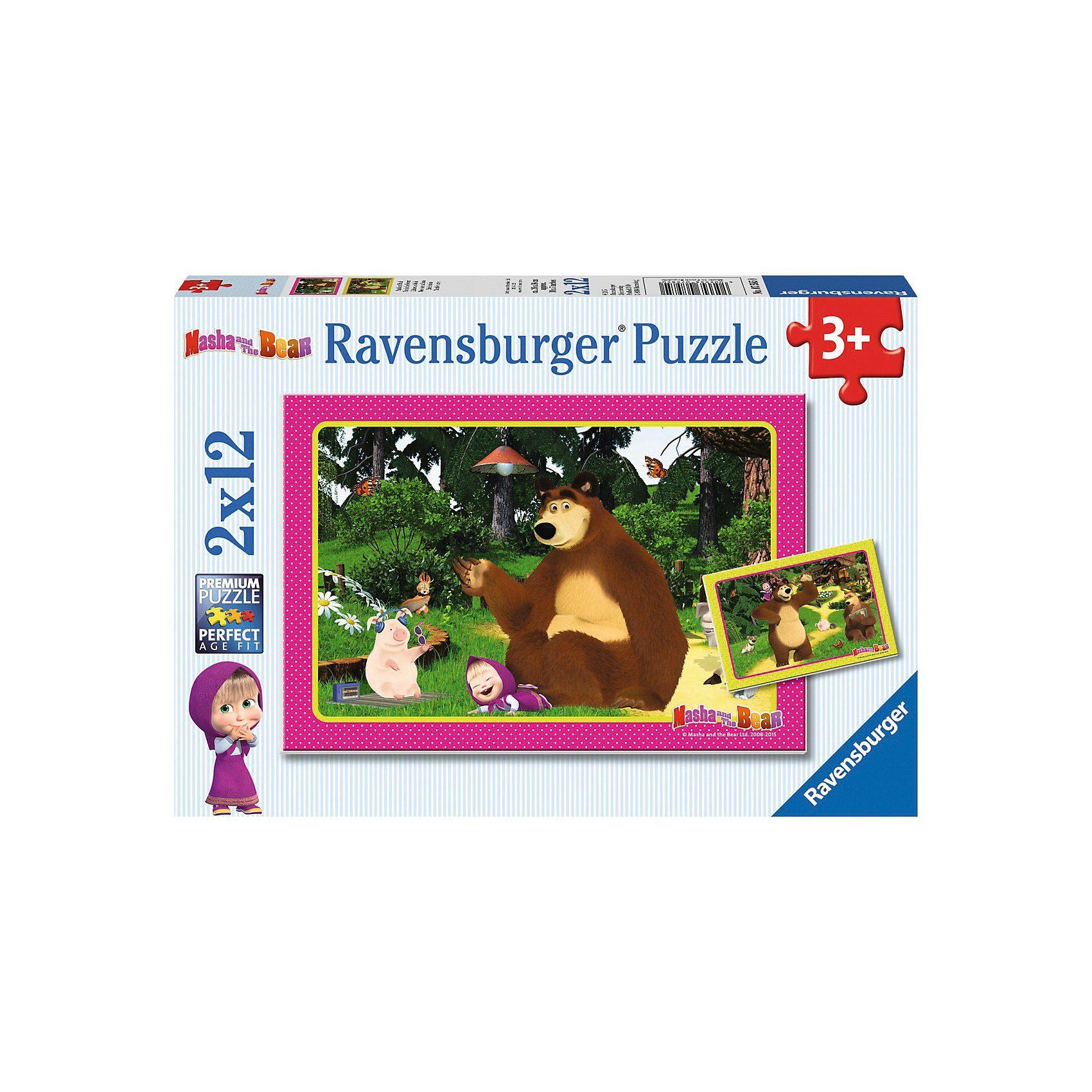 Ravensburger Puzzleset 2 x 12 Teile Mascha und der Bär Spaß im Wald