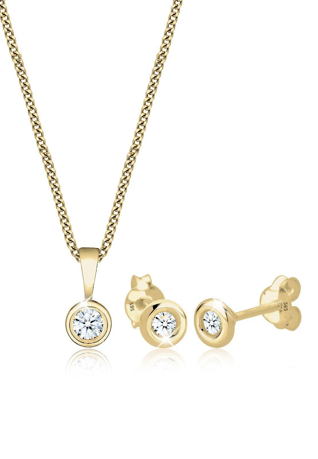 Diamore Set: Schmuckset »585 Gelbgold Diamant« 2 tlg.