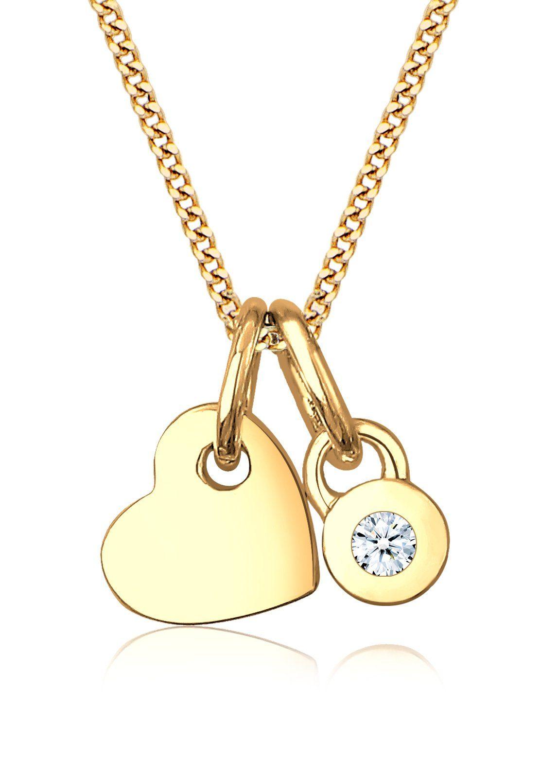 Diamore Halskette »Herz Solitär Diamant 585 Gelbgold«