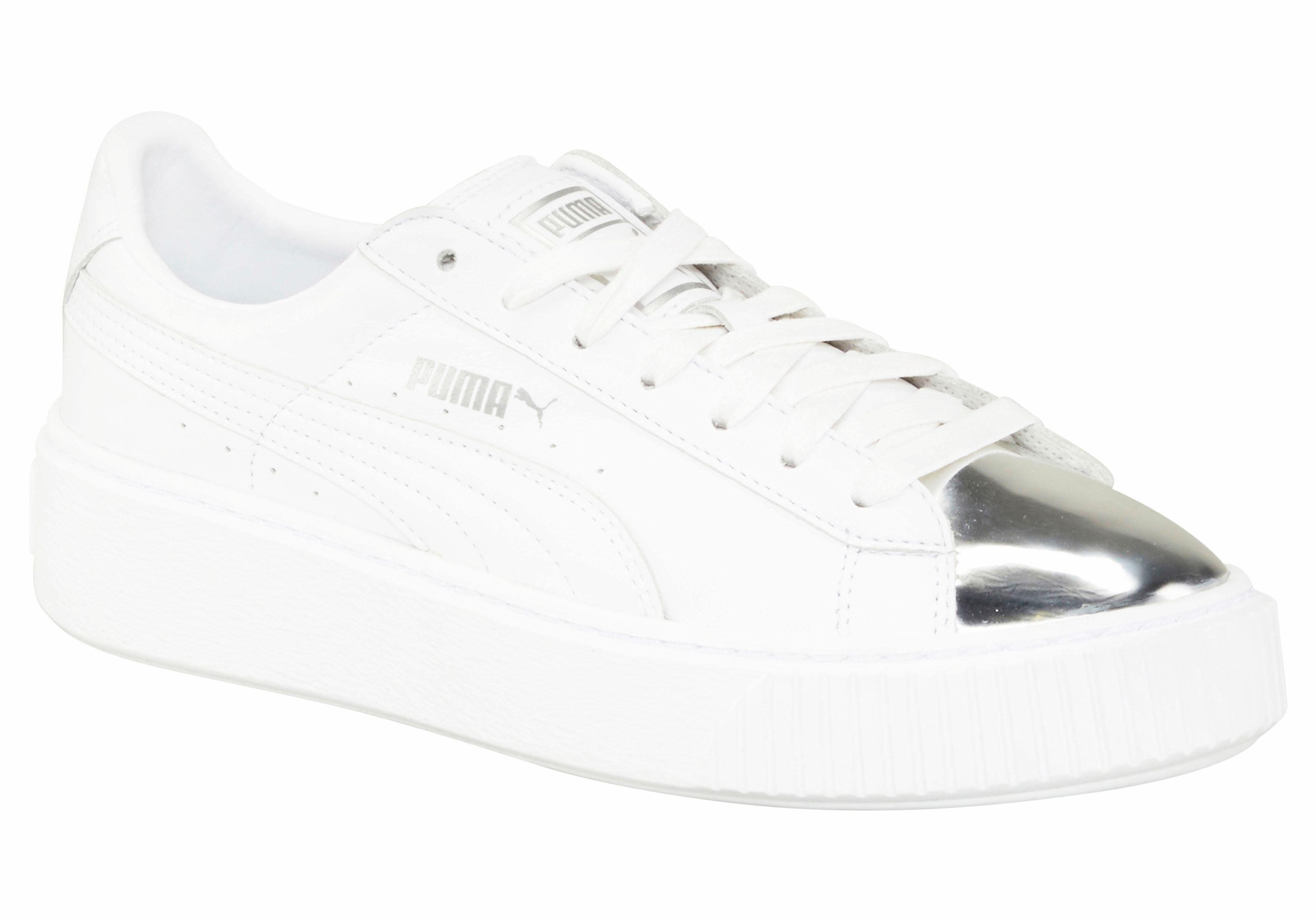 PUMA Basket Platform Metallic Sneaker kaufen  weiß-silberfarben