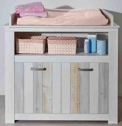 Wickelkommode passend zur Babymöbel Serie »Amrum« in Pinie NB Struktur weiß/Holzplankenoptik