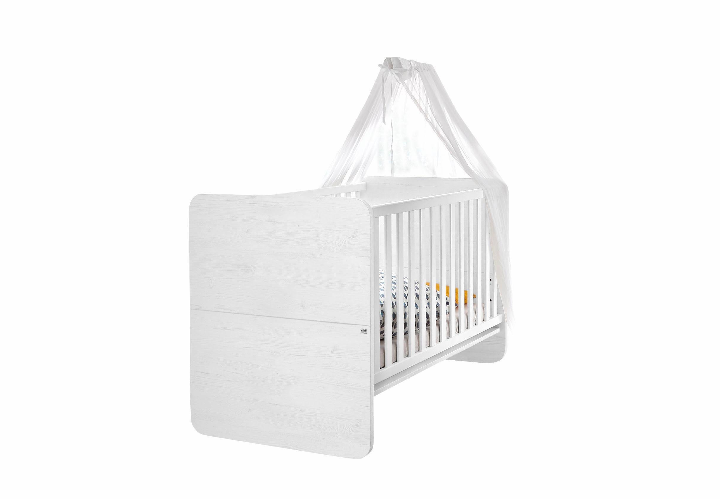 Babybett passend zur Babymöbel Serie »Lillesand« in Pinie NB weiß/weiß matt