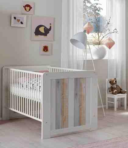 Babybett passend zur Babymöbel Serie »Amrum«, in Pinie NB Struktur weiß/Holzplankenoptik