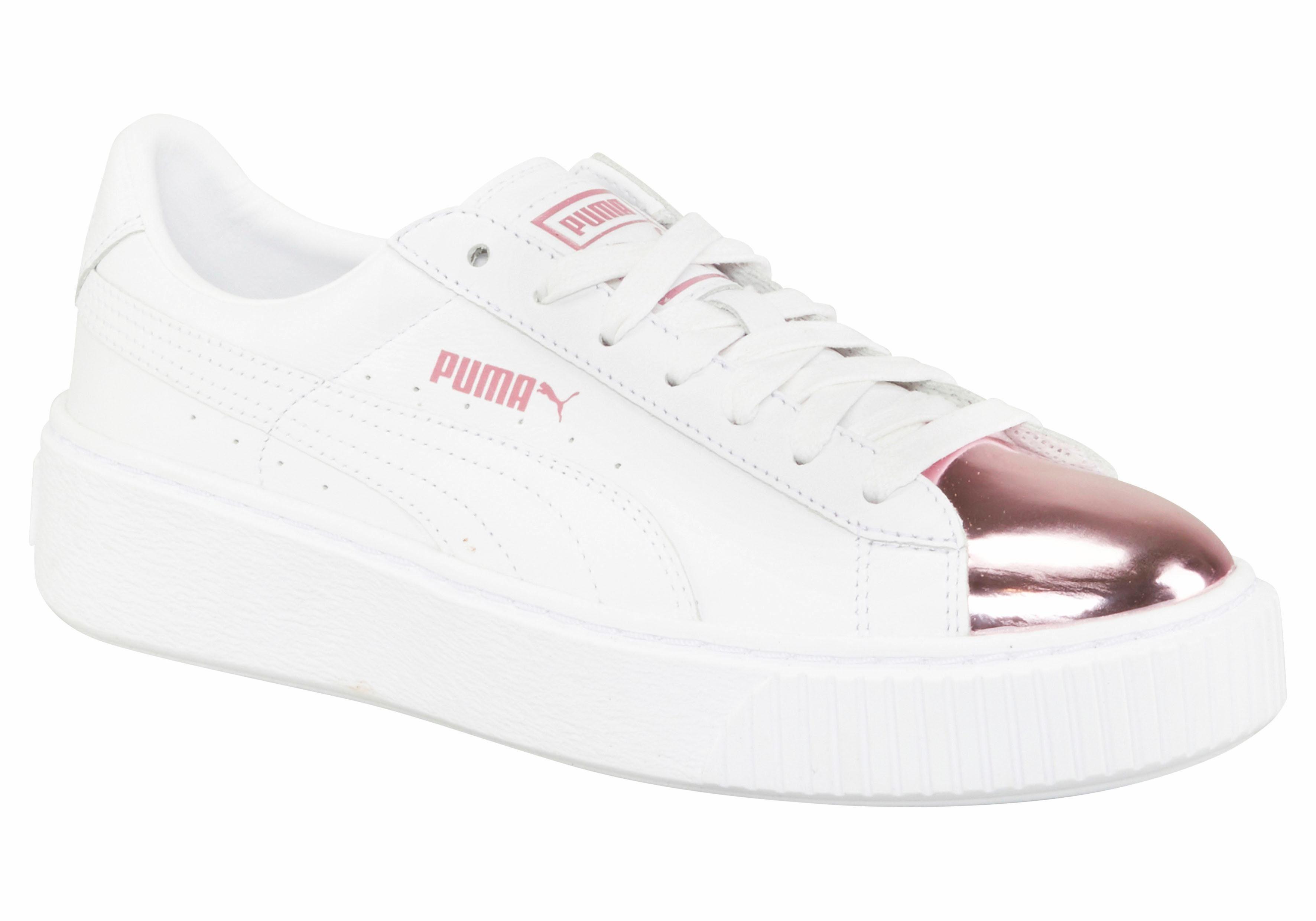 PUMA Basket Platform Metallic Sneaker kaufen  weiß-metallicpink