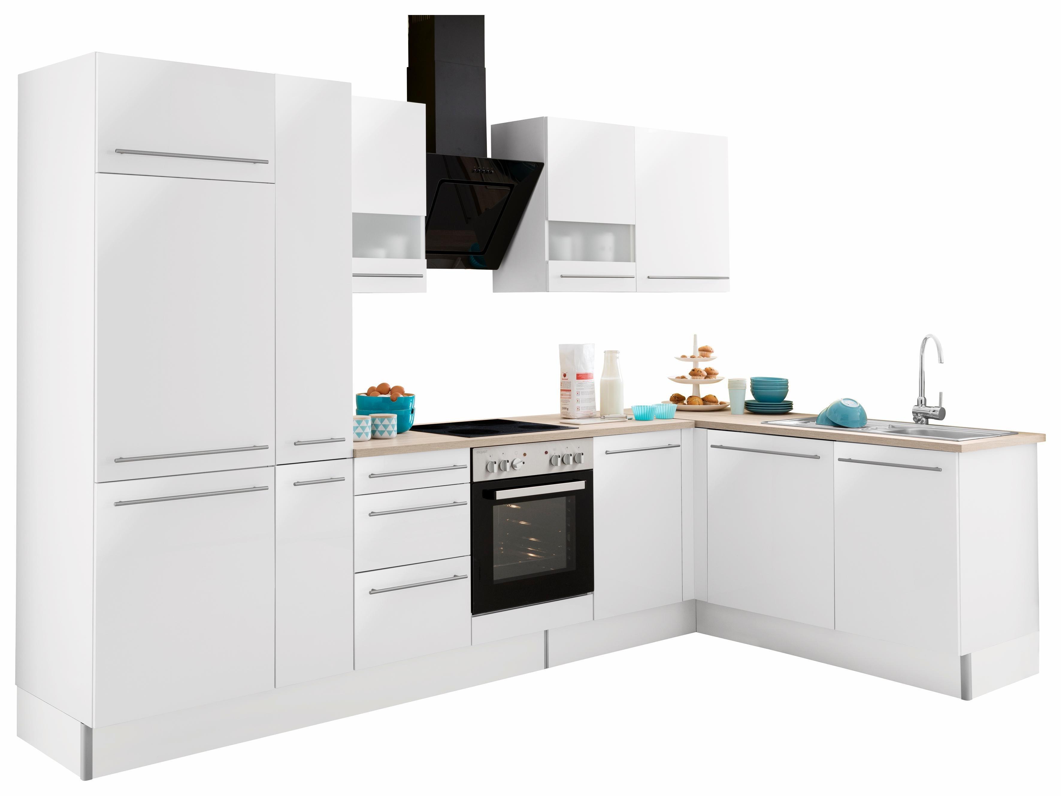 OPTIFIT Winkelküche mit E-Geräten »Bern«, Stellbreite 315 x 175 cm | Küche und Esszimmer > Küchen > Winkelküchen | Lava - Weiß - Hochglanz | Lack - Hochglanz - Edelstahl | OPTIFIT