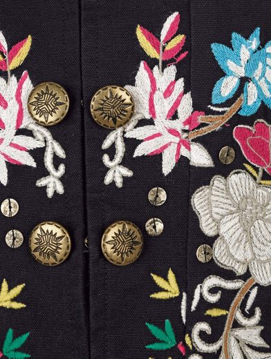 Alba Moda Jacke mit Blumenstickerei und goldfarbigen Knöpfen