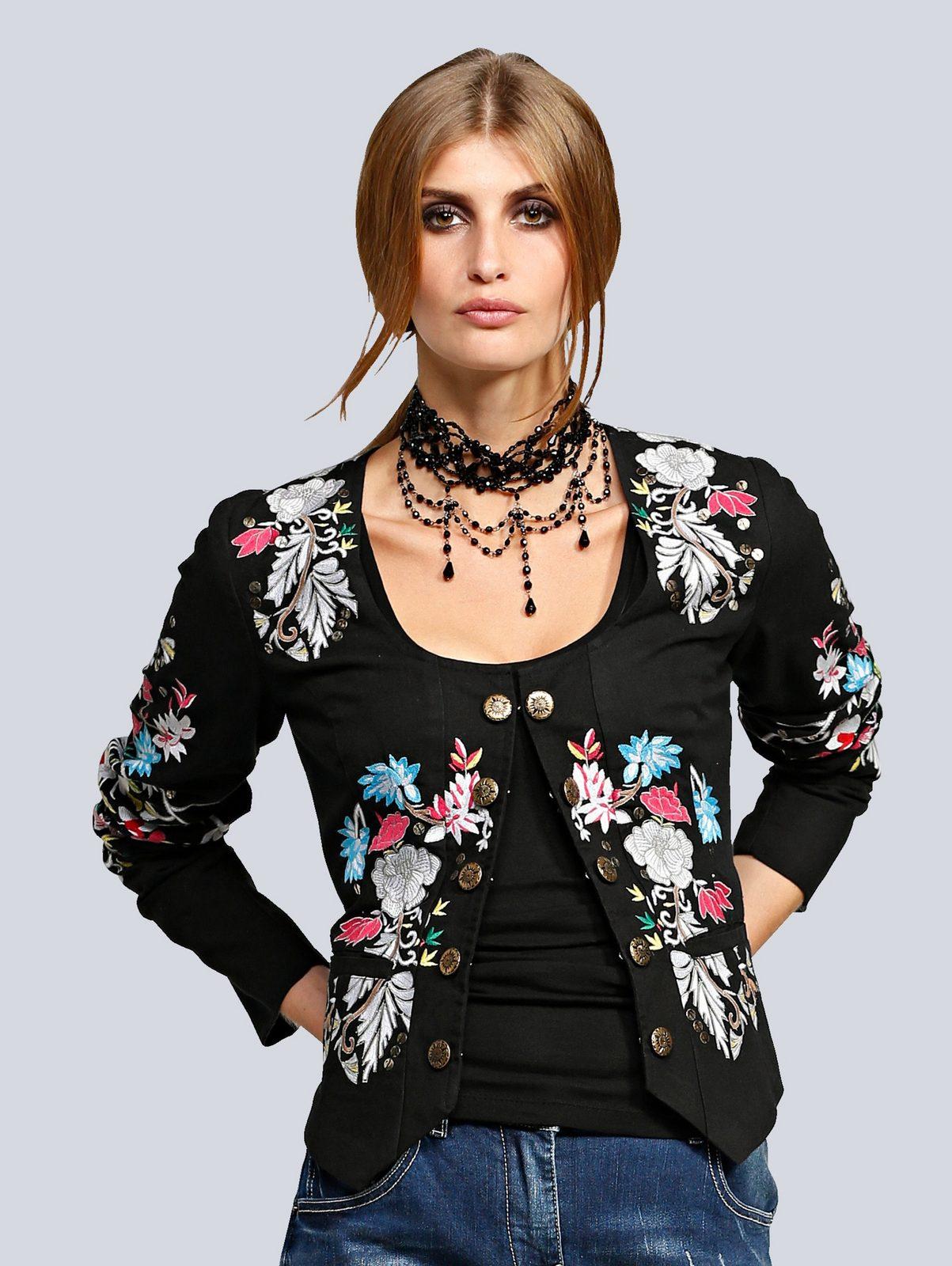 Alba Moda Jacke mit Blumenstickerei und goldfarbigen Knöpfen jetztbilligerkaufen