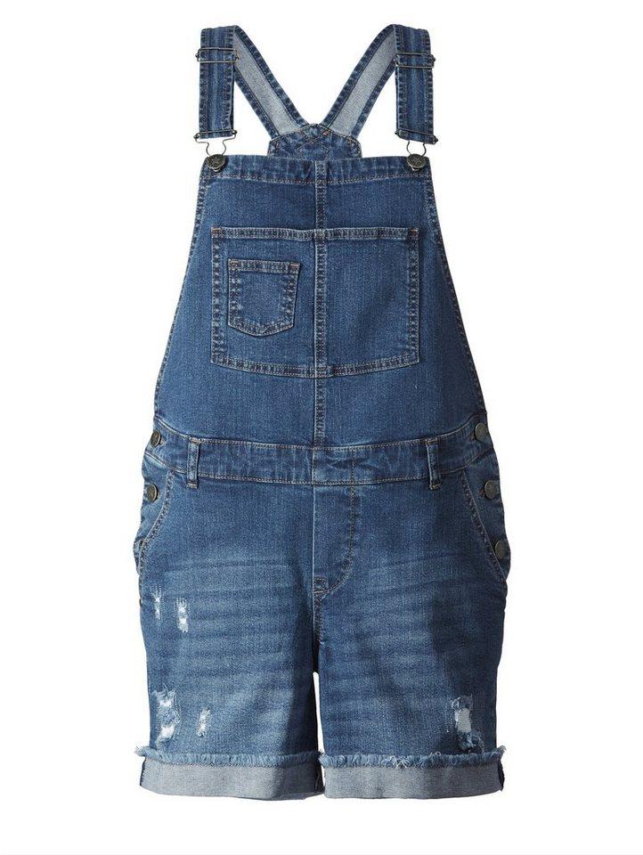 936ea2ec500b19 Angel of Style by Happy Size Kurze Latz-Jeans mit Destroy-Details ...