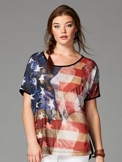 Angel of Style by Happy Size Shirt in Oversize-Form mit USA-Print