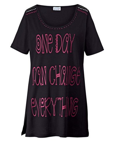 Angel of Style by Happy Size Longshirt mit Statementprint