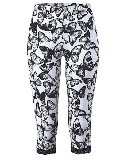 Sara Lindholm by Happy Size Capri Leggings mit Schmetterling-Print