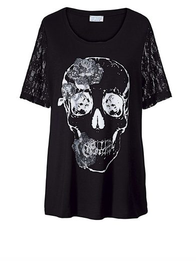 Angel Of Style By Happy Size Skull T-shirt With Sequins And Lace
