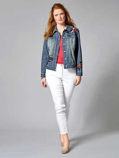 Sara Lindholm by Happy Size Jeansjacke mit Applikationen