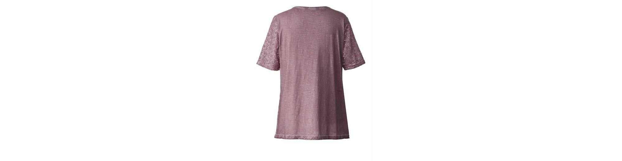 Sara Lindholm by Happy Size Shirt oil wash mit Spitze Billig Rabatt Authentisch Pkzwke2CA