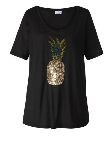 Angel of Style by Happy Size Shirt mit Ananas aus Pailletten