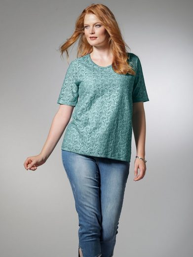 Sara Lindholm by Happy Size Shirt oil wash mit Spitze