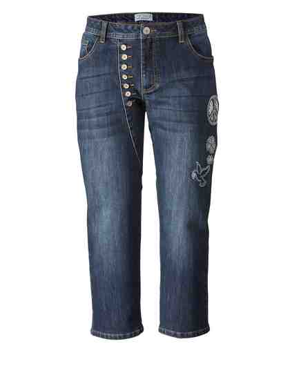 Angel of Style by Happy Size 7/8 Slim Fit Jeans mit Glitzer-Stickerei