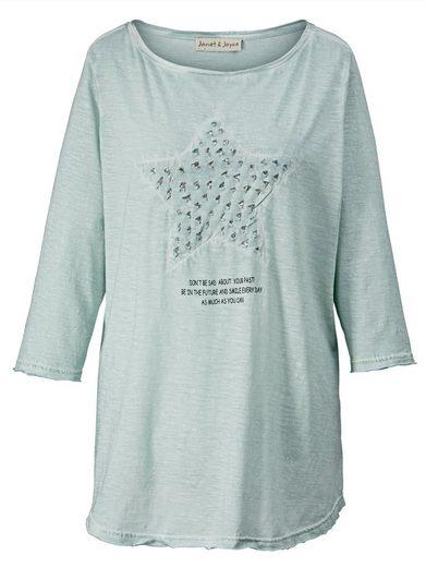 Janet und Joyce by Happy Size Shirt mit Pailletten oil wash