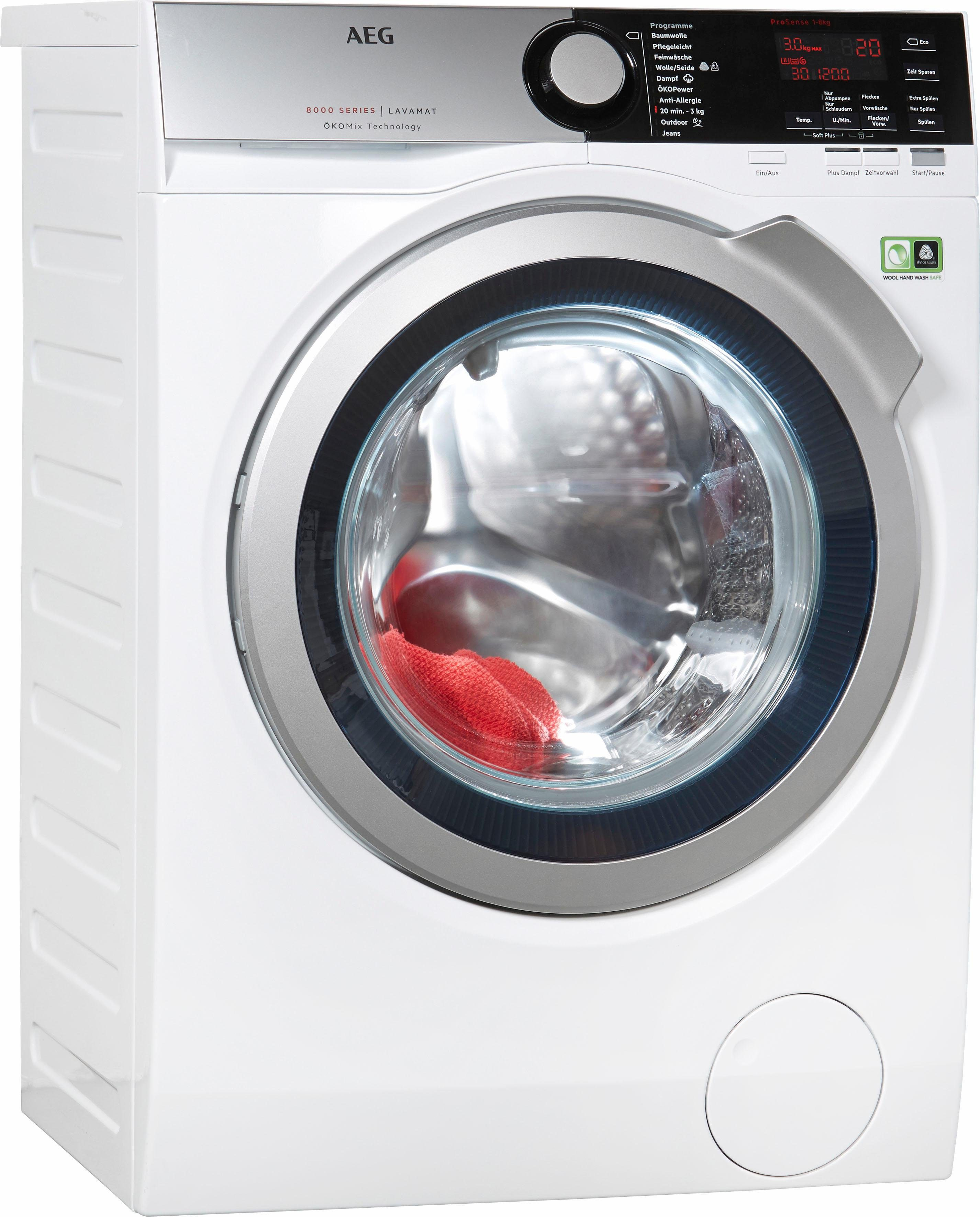 AEG Waschmaschine Serie 8000 L8FE48OkoM, 8 kg, 1400 U/Min, Stiftung Warentest Gut (2,0)