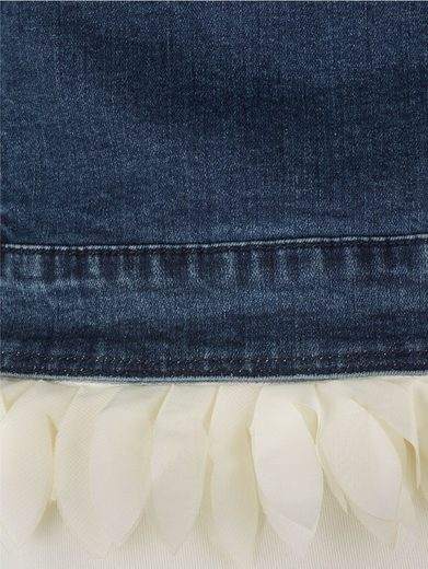 Amy Vermont Jeansblazer mit Federoptik aus Chiffon am Saumabschluss