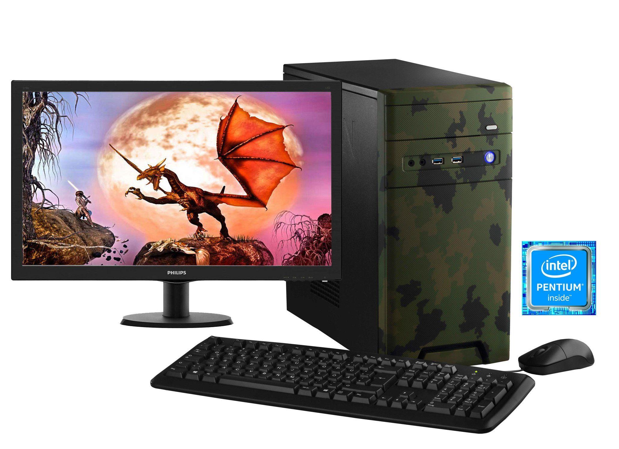 HYRICAN Gaming PC Pentium® G4560 8GB 1TB GeForce® GTX 1050 + Monitor »CyberGamer forest SET01196«