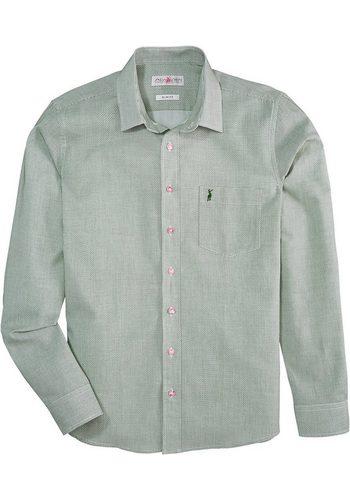 Herren Almsach Trachtenhemd mit edlem Muster grün   04250905517417