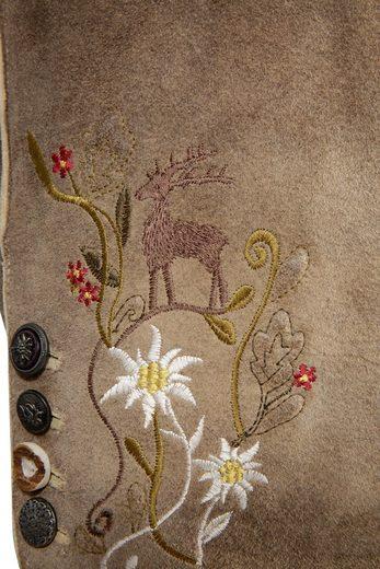 Spieth & Wensky Trachtenlederbermuda Damen mit Blumenstickerei