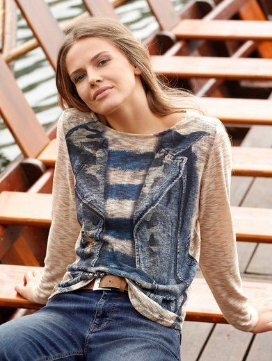 Amy Vermont Shirt mit Jeansdruck