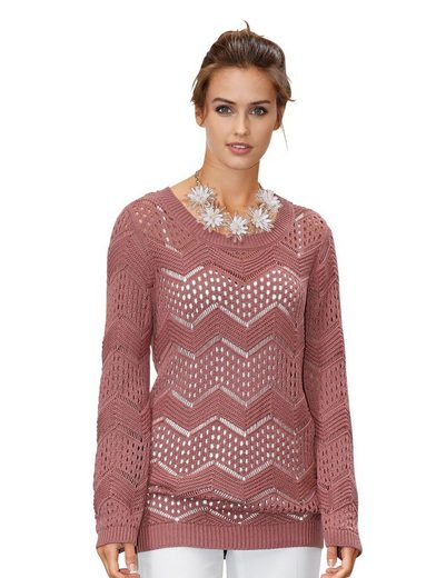 Amy Vermont Pullover mit Ajourmuster
