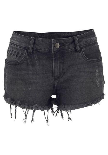Hosen - Buffalo Jeanshotpants mit Fransen am Saum › schwarz  - Onlineshop OTTO