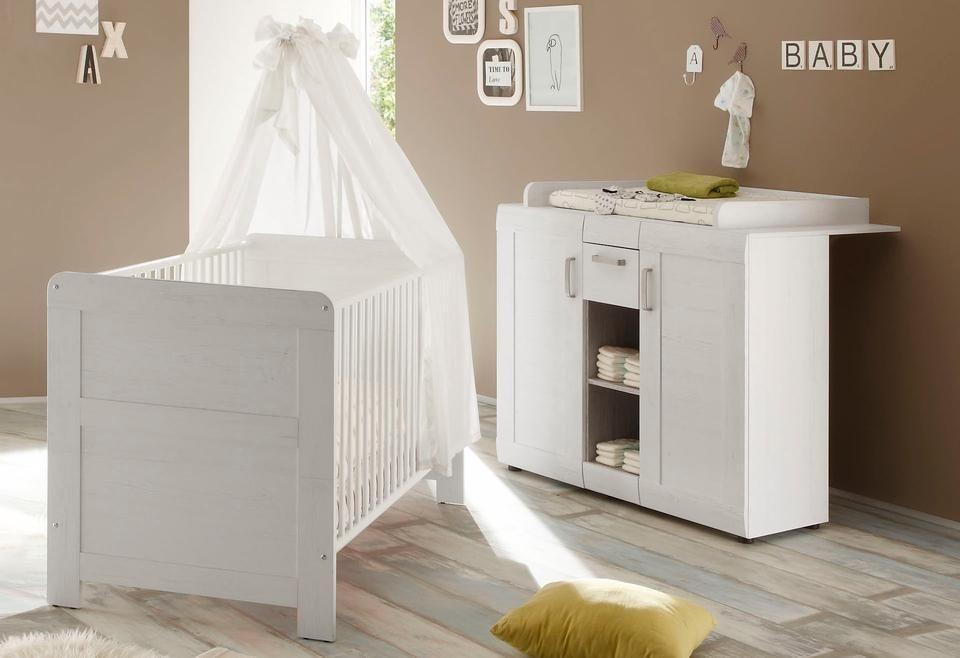 Babyzimmer spar set landhaus babybett wickelkommode 2 tlg in pinie nb wei online kaufen - Babyzimmer landhaus ...