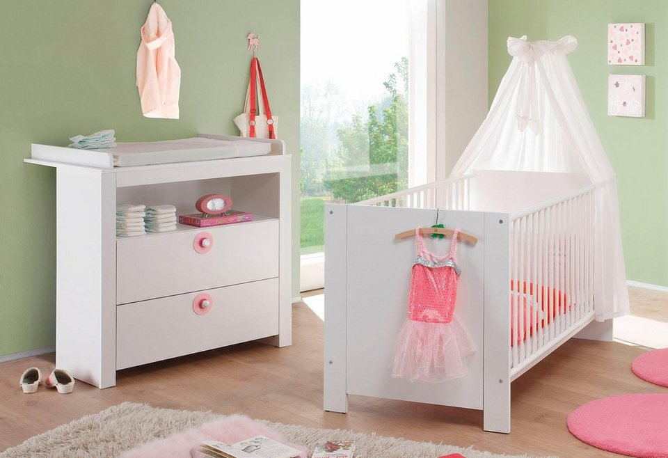 babyzimmer spar set trend babybett wickelkommode 2 tlg in wei online kaufen otto. Black Bedroom Furniture Sets. Home Design Ideas