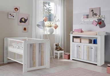 babyzimmer spar set amrum babybett wickelkommode 2 tlg in pinie nb struktur wei. Black Bedroom Furniture Sets. Home Design Ideas