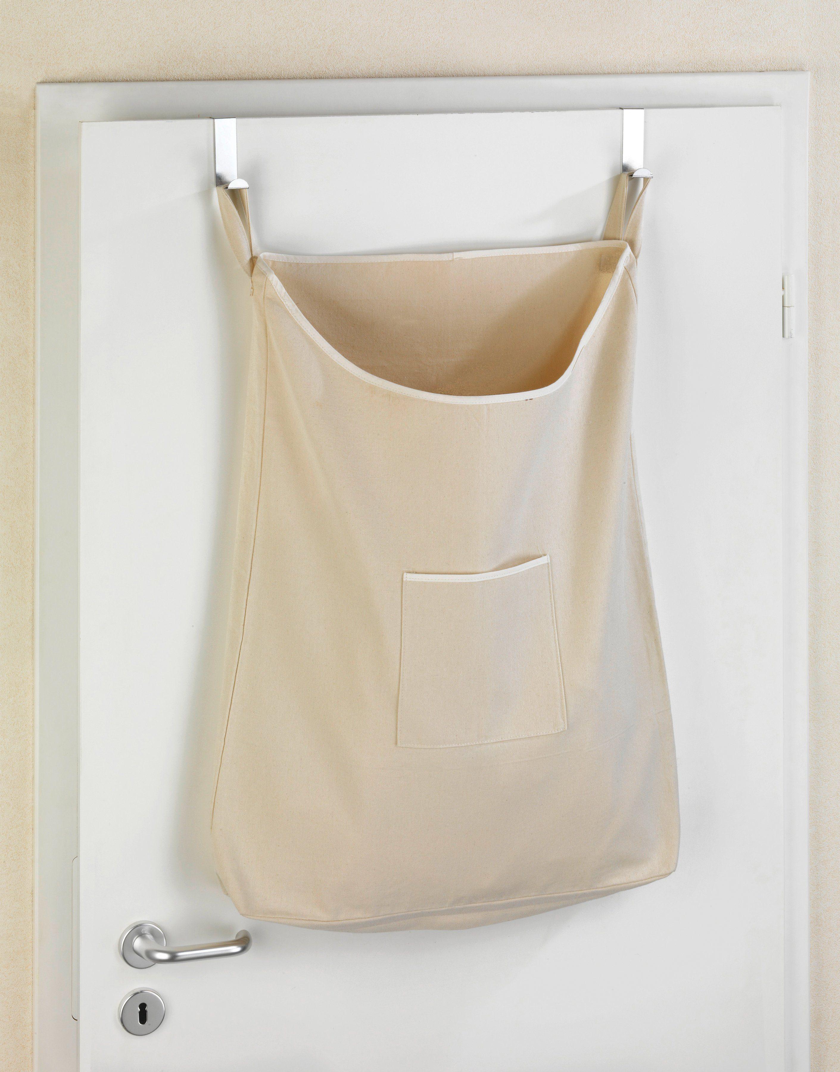 WENKO Wäschesammler »Canguro Beige«, Tür-Wäschesammler, Baumwolle, 65 l