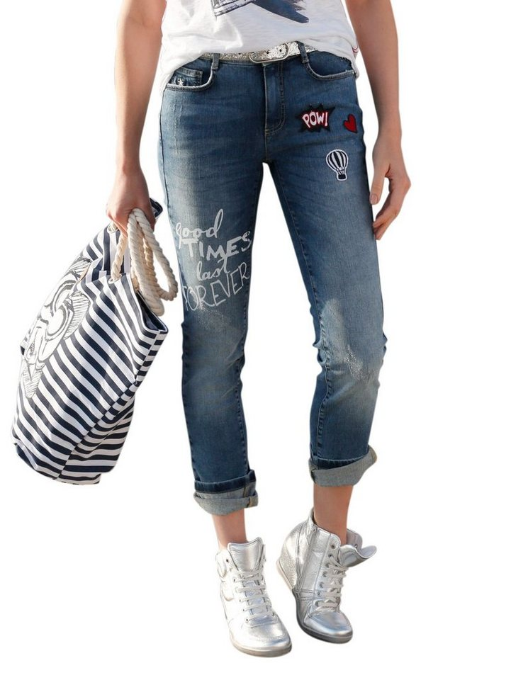 amy vermont jeans mit patches online kaufen otto. Black Bedroom Furniture Sets. Home Design Ideas