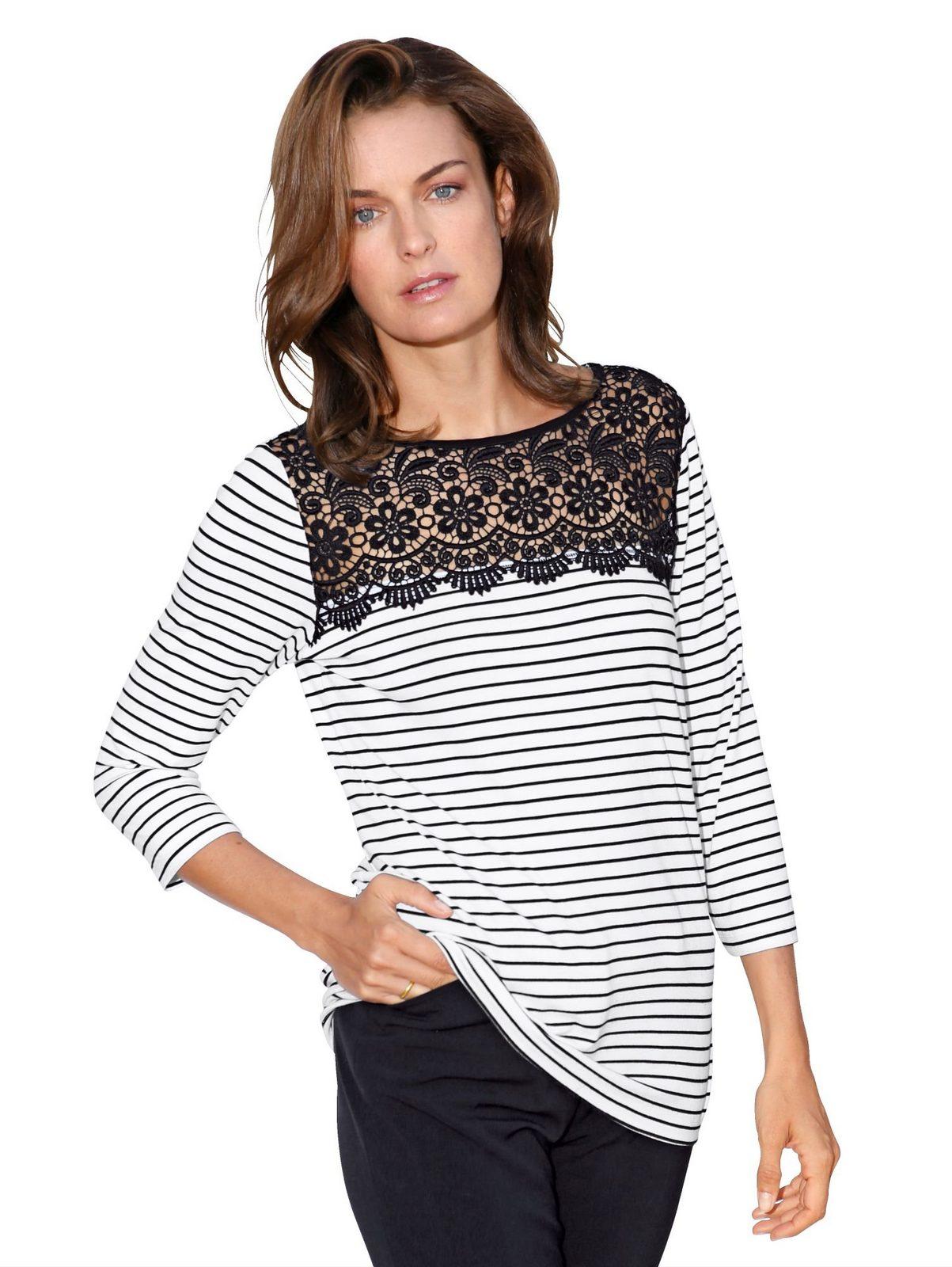 Amy Vermont Shirt mit transparentem Spitzeneinsatz im Vorderteil